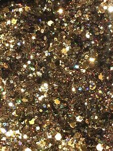 "Fine & Chunky Metallic Gold Bronze Holo Nail Art Glitter Mix - ""COFFEE"" 5g Bag"