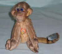 Vintage Steiff Mungo Monkey. Mohair Toy with Button & Chest Tag. Germany c1960's