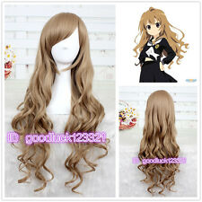 Cosplay Dragon X Tiger/ Aisaka Taiga 80cm Long Brown Curly Wig + free wig cap