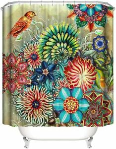 Shower Curtain Waterproof 70 x 70 Inches with 12 Hooks