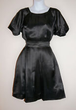 Sale-Black Pure Silk Satin Party Dress-Puff Sleeves-Pleated Front-Tie Waist-12