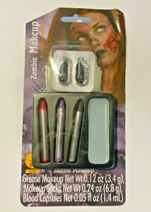 RUBIES Zombie Makeup Kit - Gray Makeup Grease and Makeup Sticks & Blood Capsules