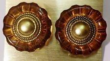 boucles d'oreilles vintage à clips tout en résine translucide brun et or *3760