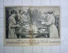1917 Women Employed In The Army Cobbler's Shop Fixing Soles To Remodelled Boots