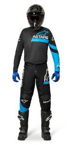 NEW ALPINESTARS 2022 FLUID CHASER RACE KIT SUIT BLACK BLUE NEON MX MOTOCROSS MTB