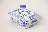 antico vaso contenitore cinese orientale blu bianco porcellana smaltata decorata