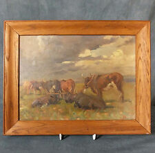STUNNING EARLY ALLERLEY GLOSSOP OIL ON BOARD PAINTING - YOKED OXEN