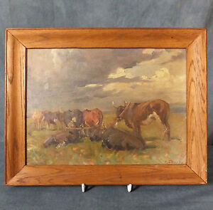 EARLY ALLERLEY GLOSSOP OIL ON BOARD PAINTING-YOKED OXEN - SOUTH AFRICAN INTEREST