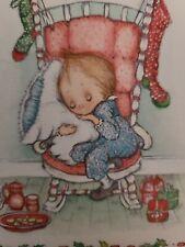 New listing Vtg Hallmark Betsey Clark Christmas Greeting Card Sweet Girl Sleep Cookies Milk