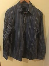 Mens Marks and Spencers grey striped shirt size L Autograph <M1473