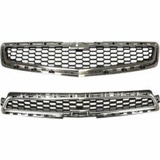 Grille For 2013-2014 Chevrolet Malibu Set of 2 Upper and Lower Plastic