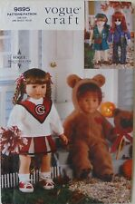 "Vogue 9895 Costumes 18"" Doll Cheerleader Bear Hippie Girl Scout Sewing Pattern"
