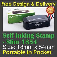 Customised Custom Make Business Name Address Self Inking Ink Slim Stamp 18x54mm