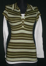Anxiety V-Neck Green/White Striped LS Stretch Cotton Shirt Jrs S B:30 W:25 L:22