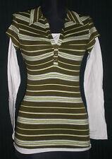 Anxiety V-Neck Green/White Striped LS Stretch Cotton Shirt Jrs S B:30 W:25 L:22
