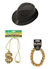 Men Rapper Pimp GANGSTER FANCY DRESS ACCESSORIES Necklace Bracelet Hat 3pcs Set