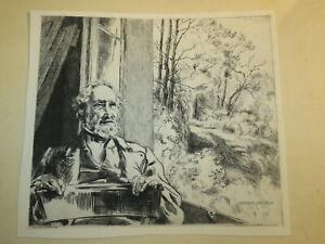 Félix BRACQUEMOND GRAVURE EAU FORTE PORTRAIT DERNIERE REFLEXION IMPRESSIONNISME