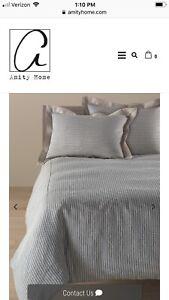 Amity Home, Bernadette Stripe Linen Duvet Cover, Steel Blue, King