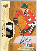DYLAN SIKURA 2019-20 UD Engrained Rookie AUTOGRAPH PATCH Blackhawks #32/65