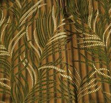 "Silk BROCADE Fabric BROWN & GREEN FERNS 5""x9"" remnant"