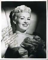 Betty Grable Hand Signed Jsa Coa 8x10 Photo Autographed Authentic
