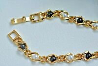 Vintage Faux White Pearl and Black Pearl Beaded Chain Link Gold Tone Bracelet