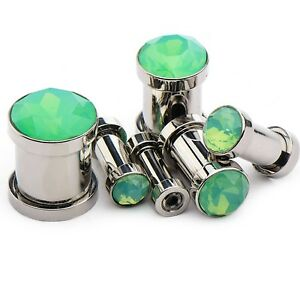 PAIR - FACETED GREEN SYNTHETIC OPALITE STEEL EAR PLUGS TUNNELS GAUGES (8g-00g)