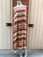 Vintage 80s Yellow Burgundy Orange Tie Dye Crazy Cheesecloth Maxi Dress 12 14 16