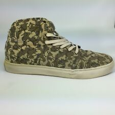 Men's VANS Camouflage Green/Black High Top Sneakers Leather Trim Size 10.5