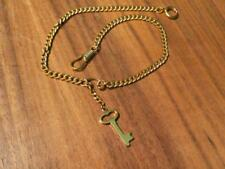 "Tone ~ 14"" Long ~ New / Old Stock Pocket Watch Chain & Skeleton Key Fob ~ Gold"