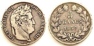 Francia-Luis Felipe I. 5 Francos 1837-B. Rouen. MBC/VF. Plata 24,5 g.