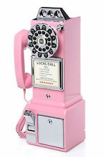 Pay Phone Replica Retro Pink Girl Teen Gift Dorm Wall Mount Telephone Coin Bank