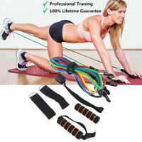 11 PCS Yoga Pilates Resistance Band Set Abs Exercise Fitness Tube Workout BanNTM