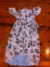 CITY CHIC PINK/FLORAL HALTER STRAP RUFFLE SLEEVE LINED MAXI DRESS SIZE: M? BNWOT