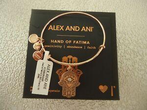 Alex and Ani HAND OF FATIMA III Rose Gold Charm Bangle New W/Tag Card & Box