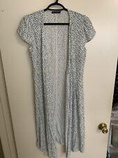 Brandi Melville blur/green/white floral v neck Robbie self tie wrap dress