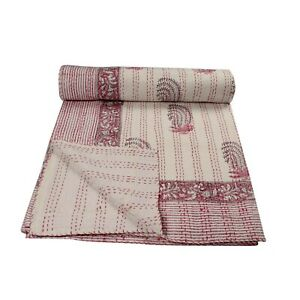 Handmade 100% pure cotton Leaf print Block Printed Kantha Quilt cotton BedSpread