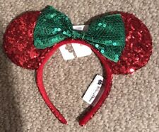 new disney minnie mouse ears red green sequin headband wbow christmas holiday
