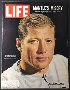 1965 Mickey Mantle Vintage Life Magazine Cover Photo New York Yankees Baseball