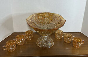 Antique Imperial Glass Marigold Carnival Glass Punch Bowl & Stand W/ 6 Cups