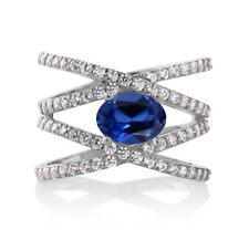 2.53 Ct Oval Blue Simulated Sapphire 925 Sterling Silver Criss Cross Ring