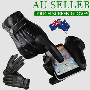 Mens Winter Warm PU Leather Touch Screen Gloves Full Finger Driving Smartphone A