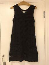 DVF Diana Von Furstenberg crochet knitted short black dress with pockets size S