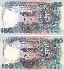 2 Pcs RM50 Ahmad Don Thomas DL Rue & BA Banknote AU/UNC Malaysia