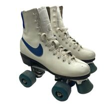 VTG Nike Roller Skates 70s 80s Jogger White Leather Blue Swoosh Rink Derby Retro