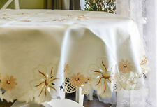 """Large Round D72""""(180cm) Table Cloth, Embroidered Brown flowers; FFD010"""