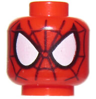 LEGO NEW SPIDER MAN MINIFIGURE HEAD WITH WHITE EYES RED SUPER HERO BODY PART