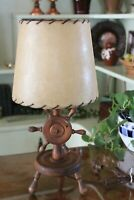 Nautical Wooden Ship Wheel Lamp with Original Parchment Shade