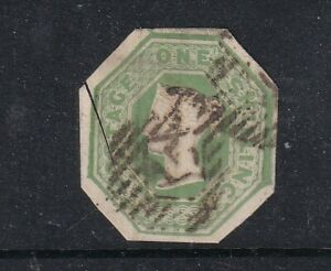 1847-54 1/- GREEN BROWN EMBOSSED  CUT TO SHAPE AND SCISSOR DAMAGE