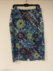 Anthropologie Troubadour Sweater Pencil Skirt Blue Floral LARGE